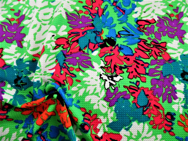Printed Bullet Liverpool Textured 4 way Fabric Stretch Green Teal Purple GG20