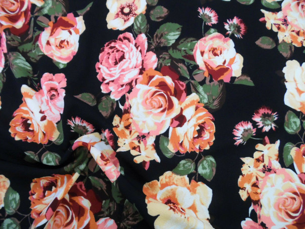 Printed Liverpool Textured 4 way Stretch Fabric Black Mauve Peach Floral I105