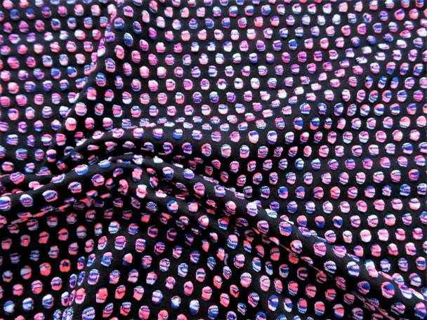 Bubble Bullet Liverpool Textured 4 Way Stretch Fabric Neon Pink Blue White FF30