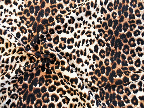 Bullet Printed Liverpool Textured Fabric 4 way Stretch Cheetah Animal Taupe U38