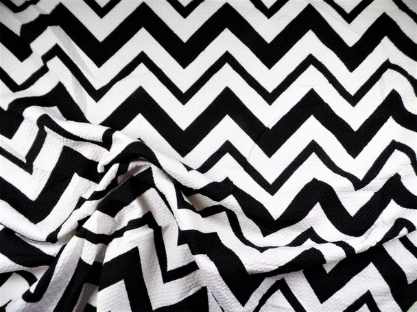 Bullet Printed Liverpool Textured Fabric 4 way Stretch Black White Chevron Q41
