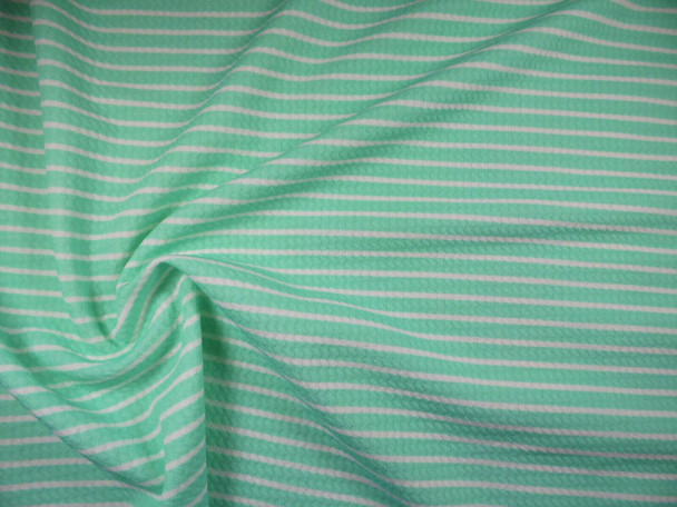 Bullet Printed Liverpool Textured Fabric 4 way Stretch Mint White Stripe R22