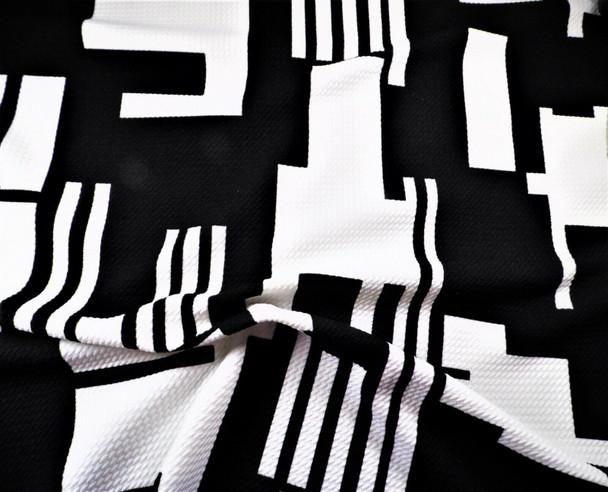Bullet Printed Liverpool Textured Fabric 4 way Stretch Black White Geometric U26