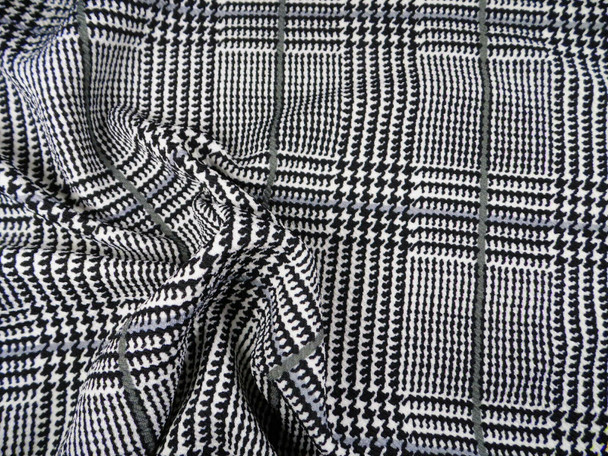 Fabric Printed Liverpool Textured 4 way Stretch Glen Plaid Black White Gray K708