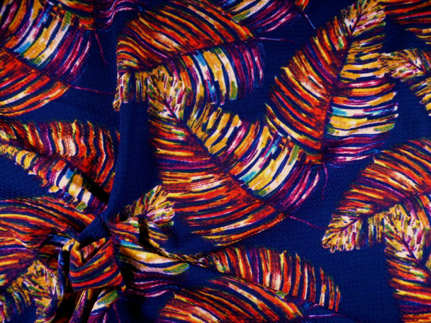 Bullet Printed Liverpool Textured Fabric Stretch Fall Leaves Navy Orange FF25