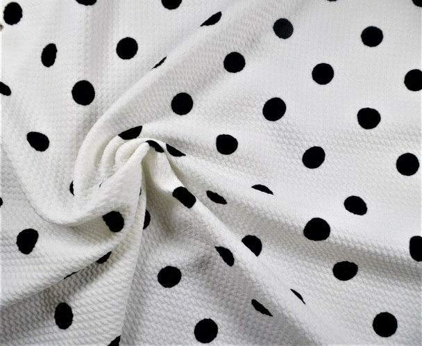 Bullet Printed Liverpool Textured Fabric Stretch Ivory Black Polka Dot P31
