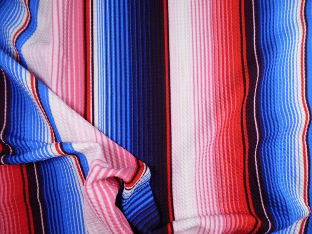 Bullet Printed Liverpool Textured Fabric Stretch Serape Stripe Red Blue V26