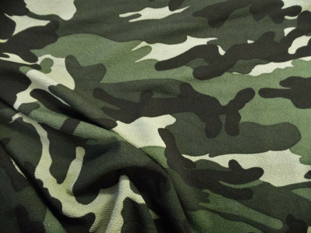 Printed Liverpool Textured Fabric Stretch Woodland Camouflage Olive Green I509