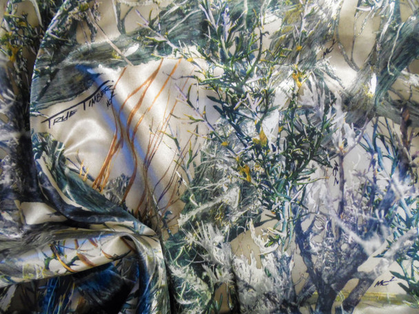 Fabric True Timber Camo MC2 Green Charmeuse Silky Bridal Satin CS25