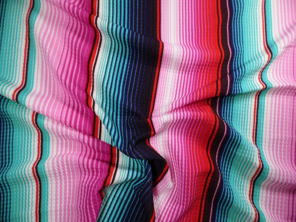 Bullet Printed Liverpool Textured Fabric Stretch Serape Stripe Pink Teal T106