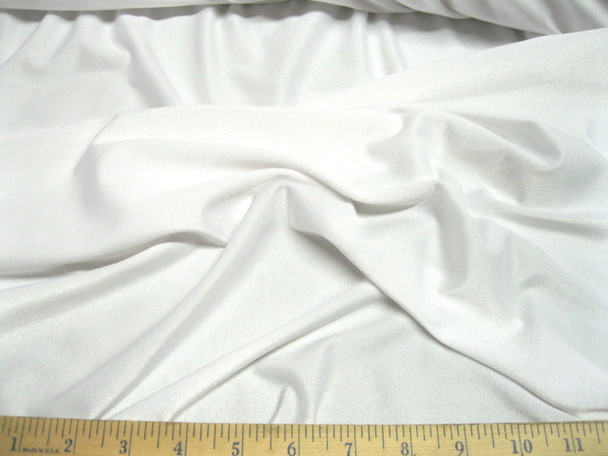 Discount Fabric Polyester Lycra Spandex 4 way stretch White Matt Finish 710LY