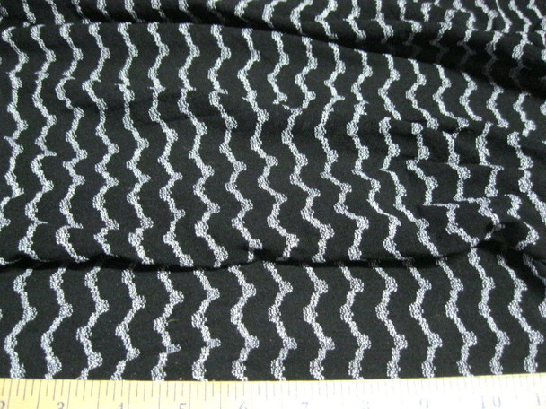 Discount Fabric  4 way stretch Mesh Lace  Black and Silver Waves 204LC