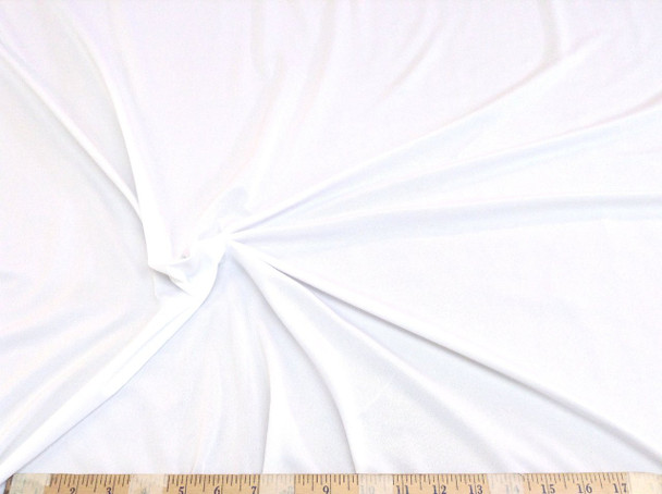 Discount Fabric Light Weight Polyester Lycra Spandex 4 way stretch White 785LY