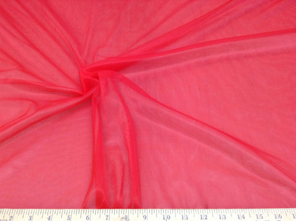 Discount Fabric nylon Tricot Red 15 denier Luster Sheer PAY306