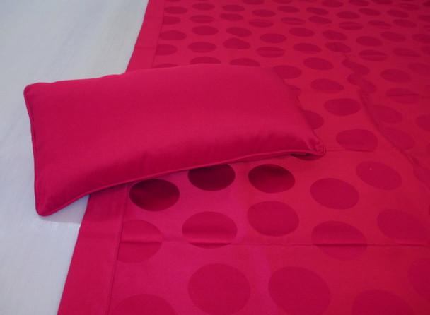 Robert Allen Coverlet Bed Scarf Throw Runner AND Accent Pillow Cranberry Circles