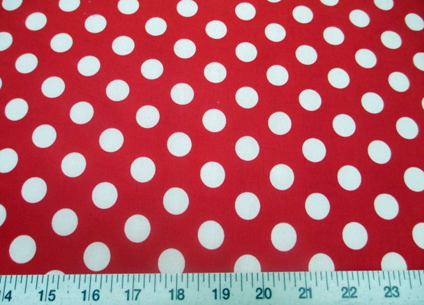 Discount Fabric Printed Lycra Spandex Stretch Red with White Polka Dots 202H