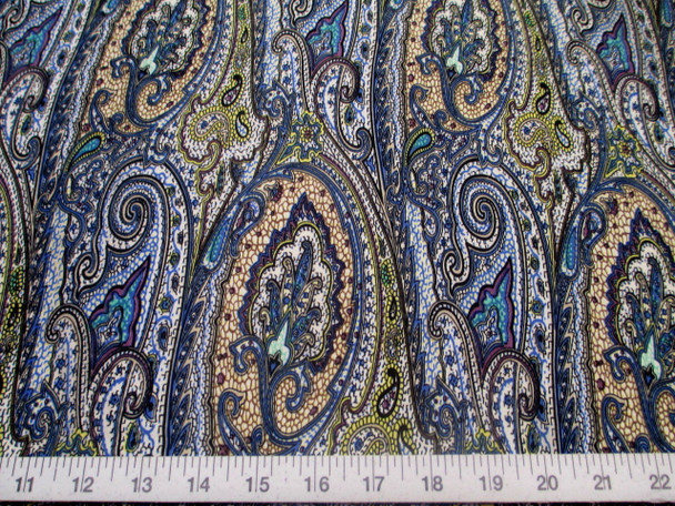 Discount Fabric Printed Lycra Spandex Stretch Paisley Blue, Black & Purple 202D