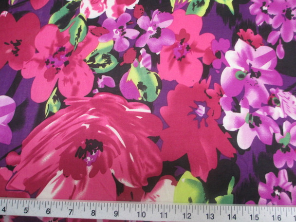Discount Fabric Printed Lycra Spandex Stretch Bold Floral Fuchsia Purple 402B