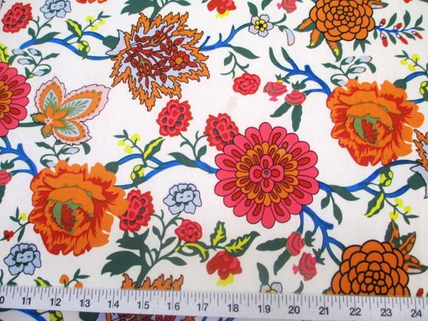 Discount Fabric Printed Lycra Spandex Stretch Pink Orange White Floral 300E