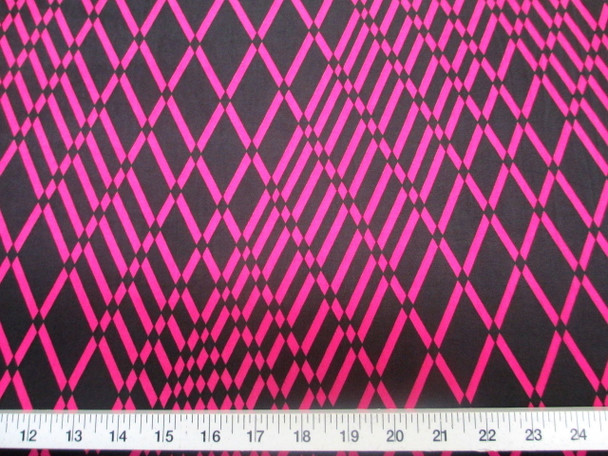 Discount Fabric Printed Lycra Spandex Stretch Pink Black Geometric Diamonds 202B