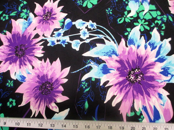 Discount Fabric Printed Lycra Spandex Stretch Bold Floral Purple Black 400C