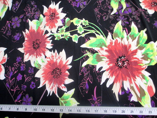 Discount Fabric Printed Lycra Spandex Stretch Bold Floral Pink Black 300C