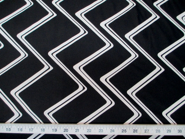 Discount Fabric Printed Nylon Lycra Bathing Suit Black White Zig Zag 801LY