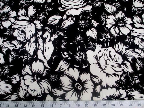 Printed Lycra Spandex Stretch Black White Large Rose Floral