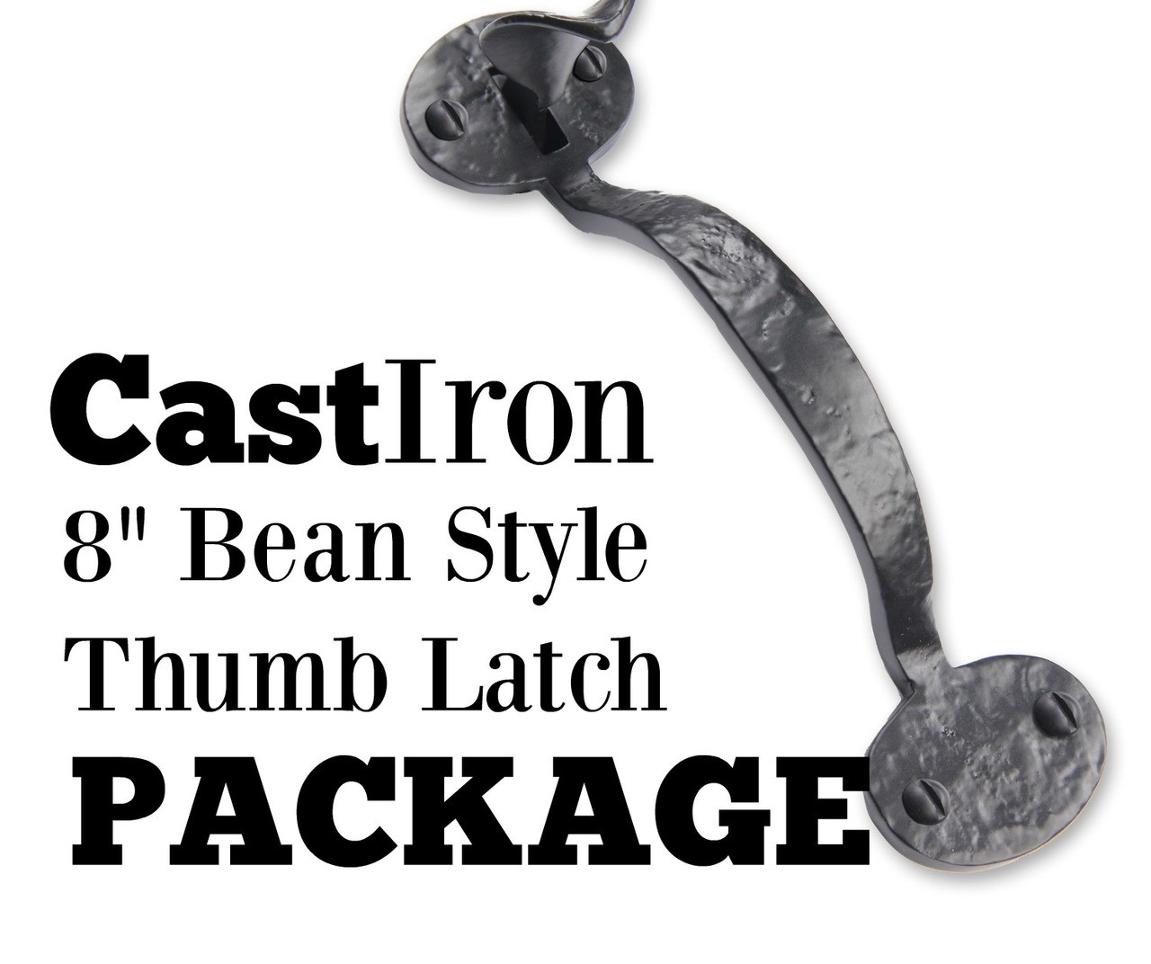 Cast Iron Bean Style Thumb Latch Package for Single Gates. 360 Yardware