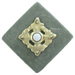 CL BR Clavos in Brass Doorbell Cover on Diamond Stone lighted doorbell buttons at 360 Yardware