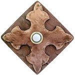 CR RB Large Cross in Red Bronze on Diamond Stone modern pushbutton door bells at 360 Yardware