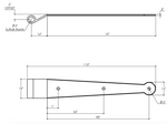 """Dimensions of 12"""" Suffolk Style Strap Hinge 1/4"""" Offset EHSKSS050"""