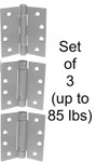 "4"" Stainless Steel Self-Closing Hinge ComboSet of 3 Hinges (up to 85 lbs)"