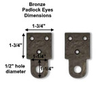 Solid Bronze Padlock Eyes - easy way to lock a gate!