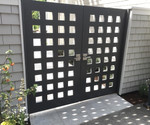 Exterior of Double Courtyard Gate with Stainless Steel Alta Modern Gate Latch and Dummy Handle