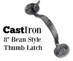 Cast Iron Bean Style Thumb Latch with Straight Drop Bar