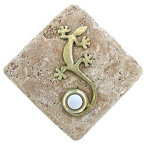 GE BR Gecko Doorbell Cover in Brass on Diamond Stone pusbutton Doorbells at 360 Yardware