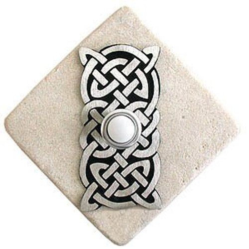 CK1 PW Celtic Knot Doorbell Cover in Pewter on Diamond Stone modern lighted doorbell buttons at 360 Yardware