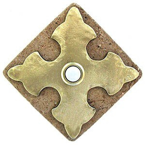 CR BR Large Cross in Brass on Diamond Stone replacement doorbell covers at 360 Yardware