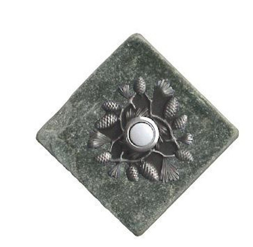 Pine Cone Doorbell Button In Pewter On Stone