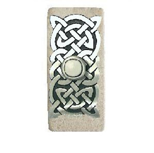 Celtic Knot Lighted Doorbell Button in Pewter with Narrow Orientation on Light Travertine