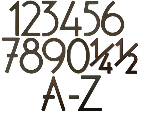 """5"""" Bungalow Style House Numbers & Letters - Dark Bronze"""