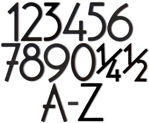 """5"""" Bungalow Style House Numbers & Letters - Satin Black"""