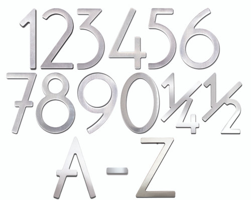 """8"""" Bungalow Style House Numbers & Letters - Stainless Steel"""