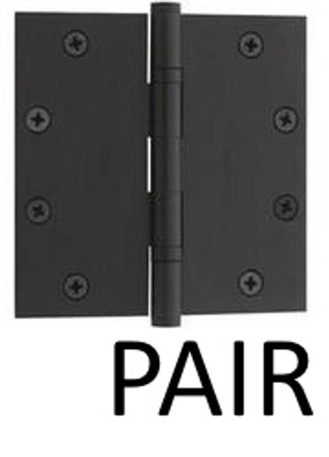"Flat Black Solid Brass Heavy Duty Ball Bearing Hinge, 4"" x 4"" (Pair)"