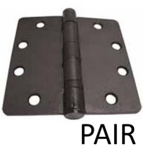 "Flat Black Heavy Duty Ball Bearing Hinge, 4"" x 4"" (Pair)"