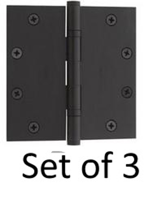 "Flat Black Solid Brass Heavy Duty Ball Bearing Hinge 4.5"" x 4.5"" (Set of 3)"