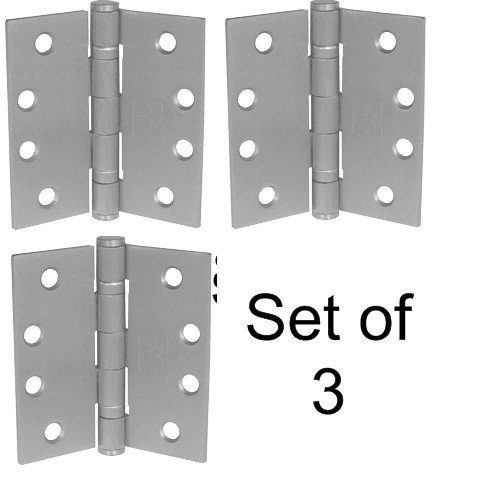 "4-1/2"" Stainless Steel Heavy Duty Ball Bearing Hinge (Set of 3) - Up to 125lbs"