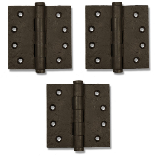 "Dark Bronze 4"" Button Tip Heavy Duty Hinges (Set of 3)"