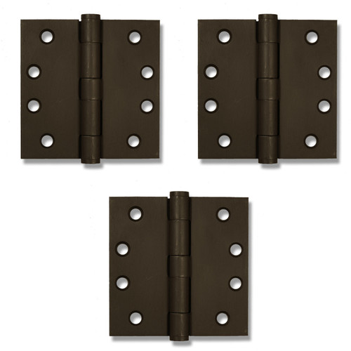 "Dark Bronze 4"" Button Tip Heavy Duty Template Hinges (Set of 3)"